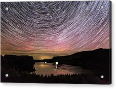 Acrylic Print featuring the photograph Star Trails And Aurora At Billy Chinook by Cat Connor