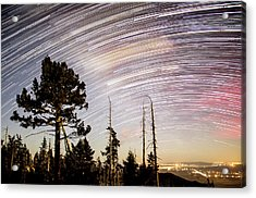 Star Trails At Fort Grant Acrylic Print