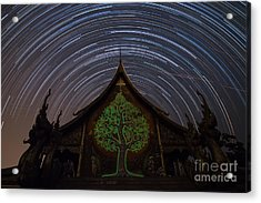 Star Trails In The Night At Temple Acrylic Print by Tosporn Preede
