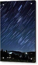 Star Trails Long Exposure At Night Acrylic Print by Evan Sharboneau