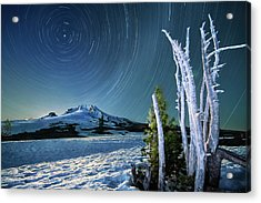Acrylic Print featuring the photograph Star Trails Over Mt. Hood by William Lee