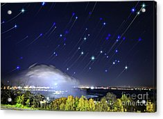 Acrylic Print featuring the photograph Star Trails Over Niagara River by Charline Xia