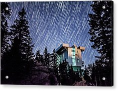 Star Trails Over The Large Binocular Telescope Acrylic Print