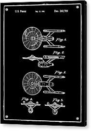 Star Trek Enterprise Patent Black Acrylic Print by Bill Cannon