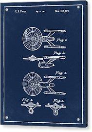 Star Trek Enterprise Patent Blue Acrylic Print by Bill Cannon