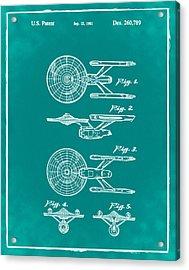 Star Trek Enterprise Patent Green Acrylic Print by Bill Cannon