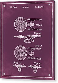 Star Trek Enterprise Patent Red Acrylic Print by Bill Cannon