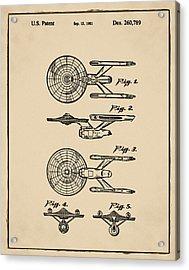 Star Trek Enterprise Patent Sepia Acrylic Print by Bill Cannon