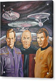 Star Trek Tribute Enterprise Captains Acrylic Print
