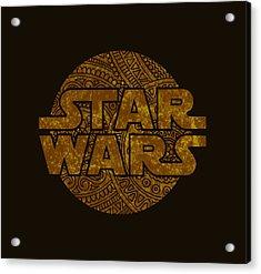 Star Wars Art - Logo - Gold Acrylic Print