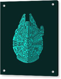 Star Wars Art - Millennium Falcon - Blue 02 Acrylic Print