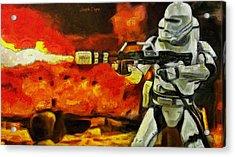 Star Wars First Order Flametrooper Firing - Da Acrylic Print by Leonardo Digenio