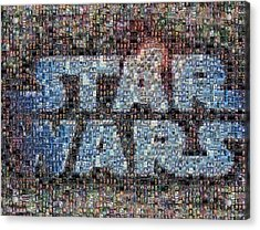 Star Wars Posters Mosaic Acrylic Print by Paul Van Scott