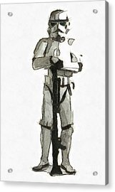Star Wars Storm Trooper Pencil Drawing Acrylic Print by Edward Fielding