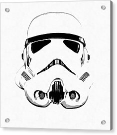 Star Wars Stormtrooper Helmet Graphic Drawing Acrylic Print by Edward Fielding