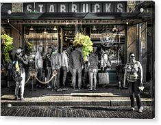 Acrylic Print featuring the photograph Starbucks At The Market by Spencer McDonald