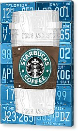 Starbucks Coffee Cup Recycled Vintage License Plate Pop Art Acrylic Print by Design Turnpike