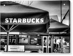 Starbucks Umbrella Acrylic Print by Spencer McDonald