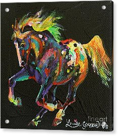 Starburst Pony Acrylic Print by Louise Green