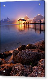 Starburst Sunset Over House Of Refuge Pier In Hutchinson Island At Jensen Beach, Fla Acrylic Print