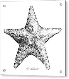 Acrylic Print featuring the drawing Starfish Drawing Black And White Sea Star by Karen Whitworth