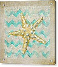 Starfish In Modern Waves Acrylic Print by Sandi OReilly