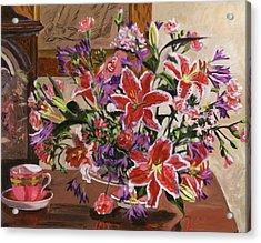 Stargazer Lilies Acrylic Print by David Lloyd Glover