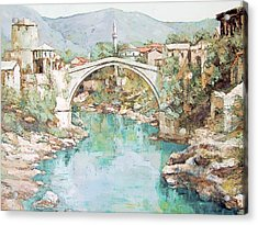 Stari Most Bridge Over The Neretva River In Mostar Bosnia Herzegovina Acrylic Print