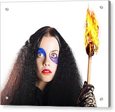 Staring Woman Holding Flame Torch Acrylic Print