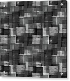 Stark Black Squares Abstract Pattern Acrylic Print