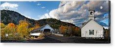 Stark Covered Bridge And Church Acrylic Print