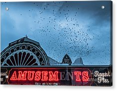 Starlings Over Aberystwyth Royal Pier Acrylic Print