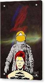 Acrylic Print featuring the drawing Starman Bowie by Jason Tricktop Matthews