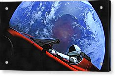 Starman In Tesla With Planet Earth Acrylic Print