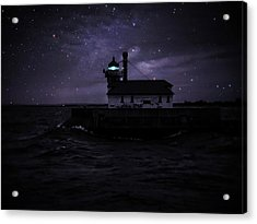 Starry Lighthouse Acrylic Print by Dawn Van Doorn