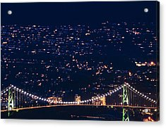 Acrylic Print featuring the photograph Starry Lions Gate Bridge - Mdxxxii By Amyn Nasser by Amyn Nasser