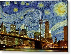 Starry Night Brooklyn Bridge Acrylic Print by Movie Poster Prints