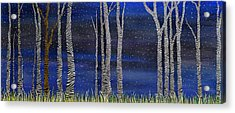 Starry Night In The Zebra Forrest Acrylic Print