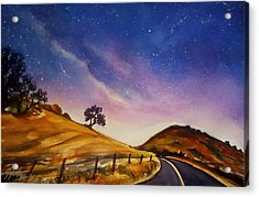 Starry Night On Yokohl Road Acrylic Print by Therese Fowler-Bailey
