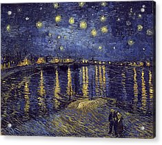 Acrylic Print featuring the painting Starry Night Over The Rhone by Van Gogh