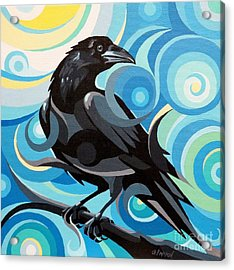 Starry Night Raven Acrylic Print by Christine Karron