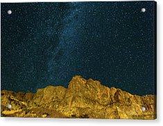 Starry Night Sky Over Rocky Landscape Acrylic Print