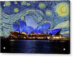 Starry Night Sydney Opera House Acrylic Print by Movie Poster Prints