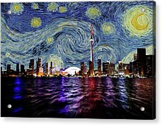 Acrylic Print featuring the painting Starry Night Toronto Canada by Movie Poster Prints