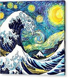 Starry Night Wave Acrylic Print