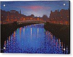 Starry Nights In Dublin Ha' Penny Bridge Acrylic Print by John  Nolan