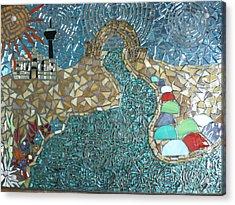Starry Riverwalk Acrylic Print by Ann Salas