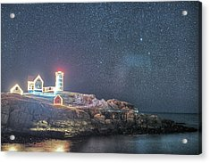 Starry Sky Of The Nubble Light In York Me Cape Neddick Acrylic Print by Toby McGuire
