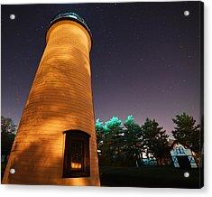 Starry Sky Over The Newburyport Harbor Light Closeup Acrylic Print by Toby McGuire