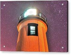 Starry Sky Over The Newburyport Harbor Light Window 2 Acrylic Print by Toby McGuire